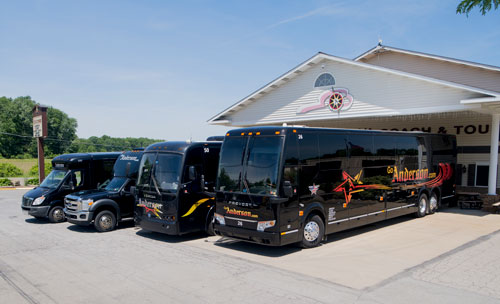 Charter bus rental vehicles
